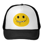 Suppressed laughing yellow smiley face mesh hat