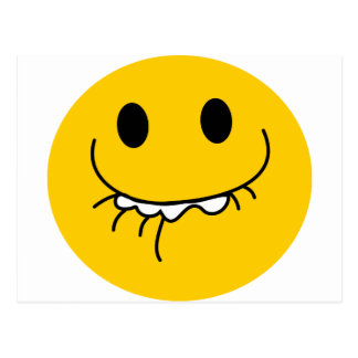 Suppressed laughing yellow smiley face postcard