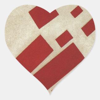 Suprematism con ocho rectángulos de Kazimir Malev Pegatina En Forma De Corazón