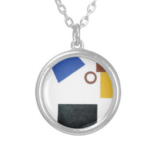 Suprematism. Two Dimensional Self Portrait Silver Plated Necklace