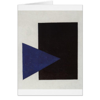 Suprematism with Blue Triangle and Black Square Card