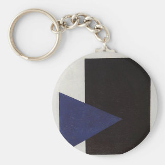 Suprematism with Blue Triangle and Black Square Keychain