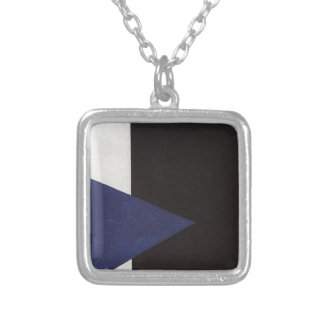 Suprematism with Blue Triangle and Black Square Silver Plated Necklace