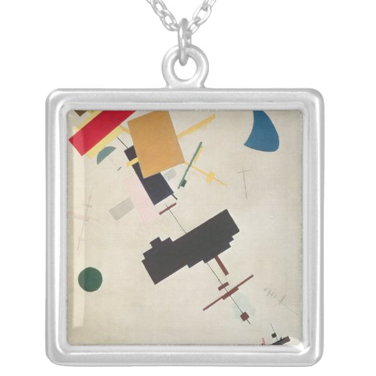 Suprematist Composition No.56, 1936 Silver Plated Necklace