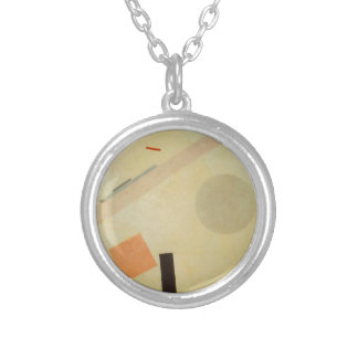 Suprematist Painting by Kazimir Malevich Silver Plated Necklace