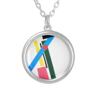 Suprematistic Construction by Kazimir Malevich Silver Plated Necklace