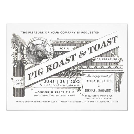 Supreme Vintage Pig Roast Toast Invitations Zazzle Com