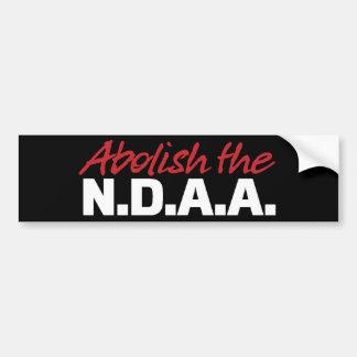 Suprima a la pegatina para el parachoques de NDAA Pegatina Para Auto