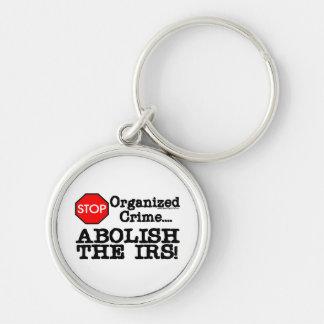 ¡Suprima el IRS! Llavero Redondo Plateado