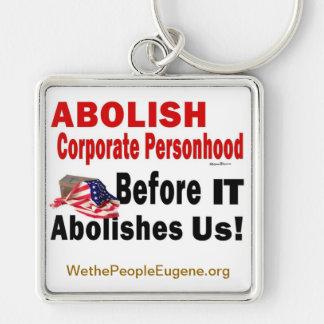 Suprima el Personhood corporativo Llavero Cuadrado Plateado