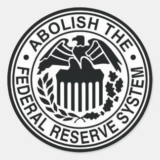 Suprima Federal Reserve Pegatina Redonda