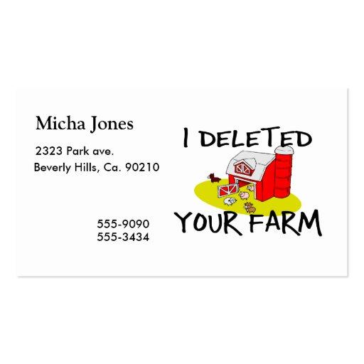 Suprimí su granja tarjetas de visita
