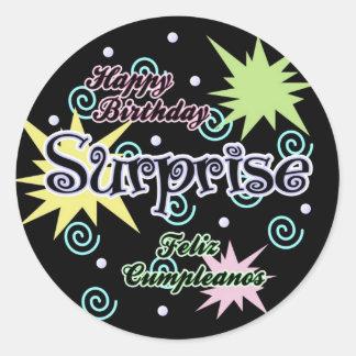 Suprise! Confetti Birthday Round Stickers