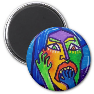 Suprised  Woman by Piliero 2 Inch Round Magnet