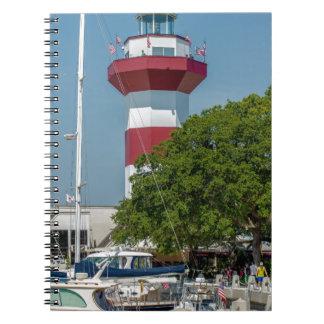sur blanco rojo del faro de la ciudad del puerto libretas espirales