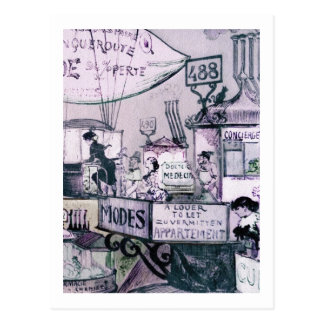 Sur les toits-1883 Robida Postcard