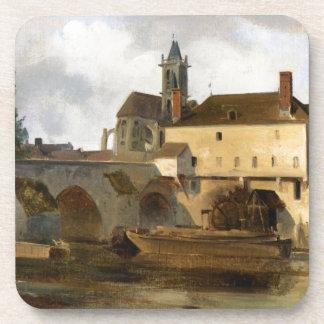 Sur Loing de Moret, el puente y la iglesia Posavasos De Bebida