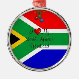 Suráfrica: Amo a mi marido surafricano Adorno Navideño Redondo De Metal