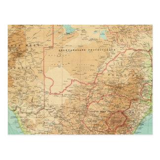 Suráfrica con las rutas de envío tarjeta postal