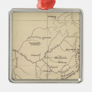 Suráfrica litografió el mapa adorno navideño cuadrado de metal