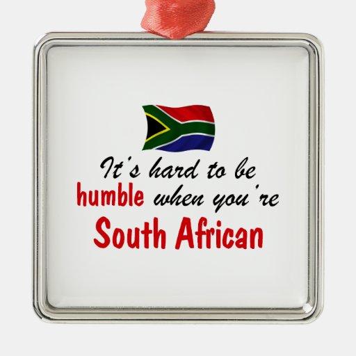 Surafricano humilde adorno cuadrado plateado