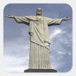 Suramérica, el Brasil, Río de Janeiro. Cristo Pegatina Cuadrada