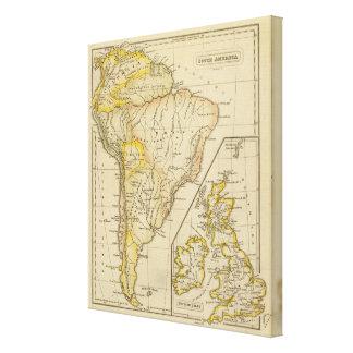 Suramérica islas británicas impresión en lienzo estirada
