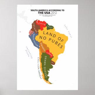 Suramérica según los E.E.U.U. Posters