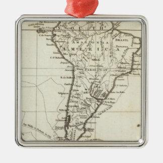 Suramérica y las islas adyacentes adorno navideño cuadrado de metal