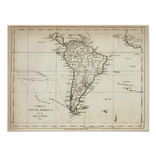 Suramérica y las islas adyacentes póster
