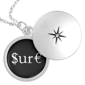 Sure funny money silver plated necklace