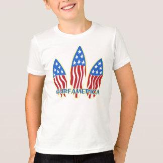 Surf America Surfboard Patriotic Flag T-Shirt