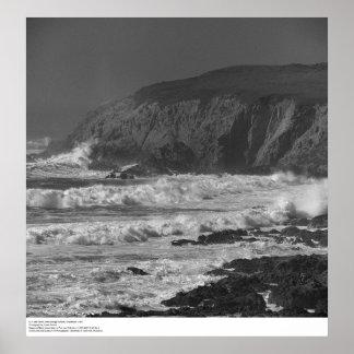 Surf and Rocks near Bodega Station, 1966 Poster