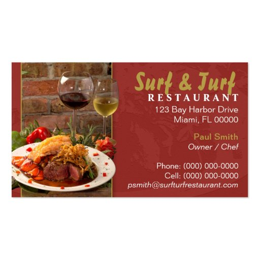 Surf and Turf Restaurant Business Card