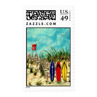 surf art beach coastal surfer postal stamps