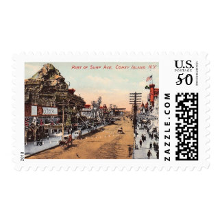 Surf Ave., Coney Island, New York Vintage Postage