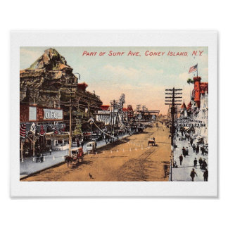 Surf Ave., Coney Island, New York Vintage Poster