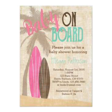 Beach Themed Surf Baby Shower Invitation Vintage Style Girl