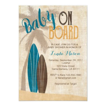Beach Themed Surf Baby Shower Invitation with Surfboards