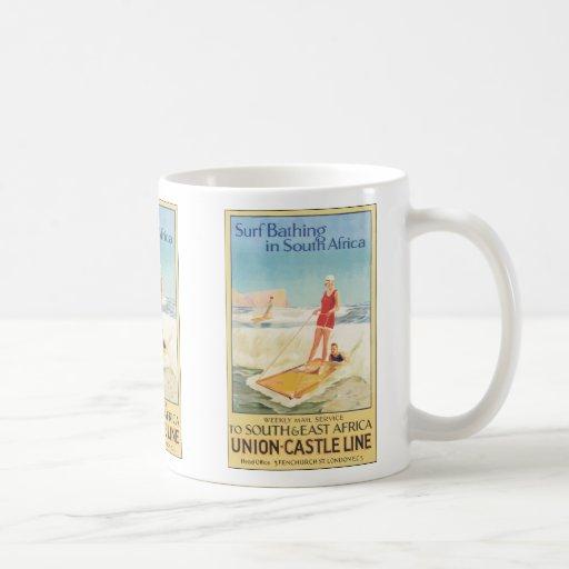 Surf Bathing In South Africa , Vintage Coffee Mugs