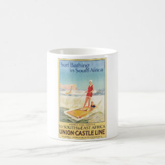 Surf Bathing in South Africa Vintage Travel Poster Coffee Mug