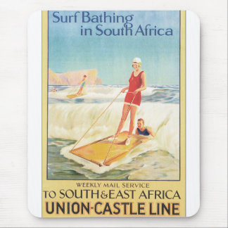 Surf Bathing in South Africa Vintage Travel Poster Mouse Pad