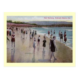 Surf Bathing, Redondo Beach, California Vintage Postcard