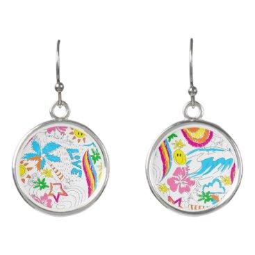 Beach Themed Surf beach love earrings