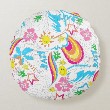 Beach Themed Surf beach love round pillow
