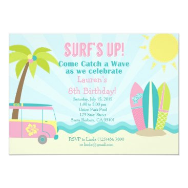 Beach Themed Surf Birthday Invitation for Girl in Pink!
