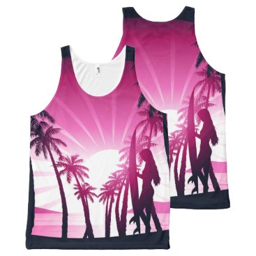 Beach Themed Surf board at sunrise All-Over-Print tank top