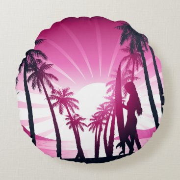 Beach Themed Surf board at sunrise round pillow
