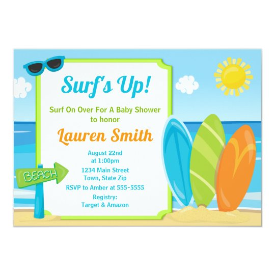 Surf Board Baby Shower Invitation Surfer Boy