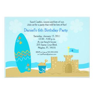 SURF BOARD BEACH SAND CASTLE 5x7 Custom Invitation
